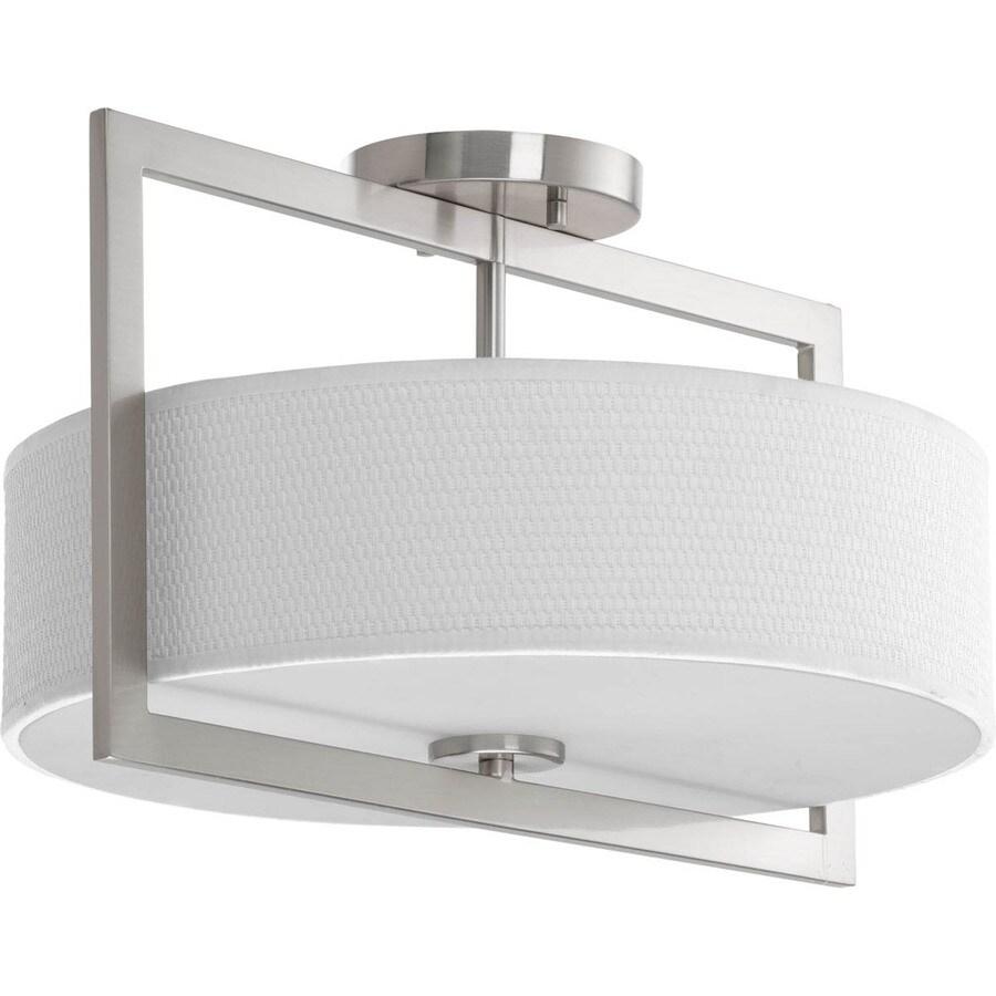 Progress Lighting Harmony 15-in W Brushed Nickel Fabric Semi-Flush Mount Light