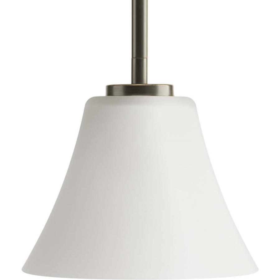 Progress Lighting Bravo 7.25-in Antique Bronze Mini Etched Glass Bell Pendant