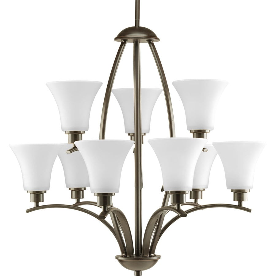 Progress Lighting Joy 28-in 9-Light Antique Bronze Etched Glass Shaded Chandelier