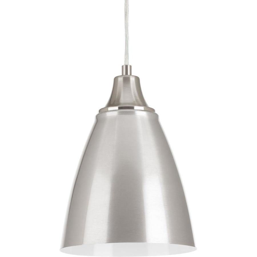 Progress Lighting Pure 6.5-in Brushed Nickel Mini Bell Pendant