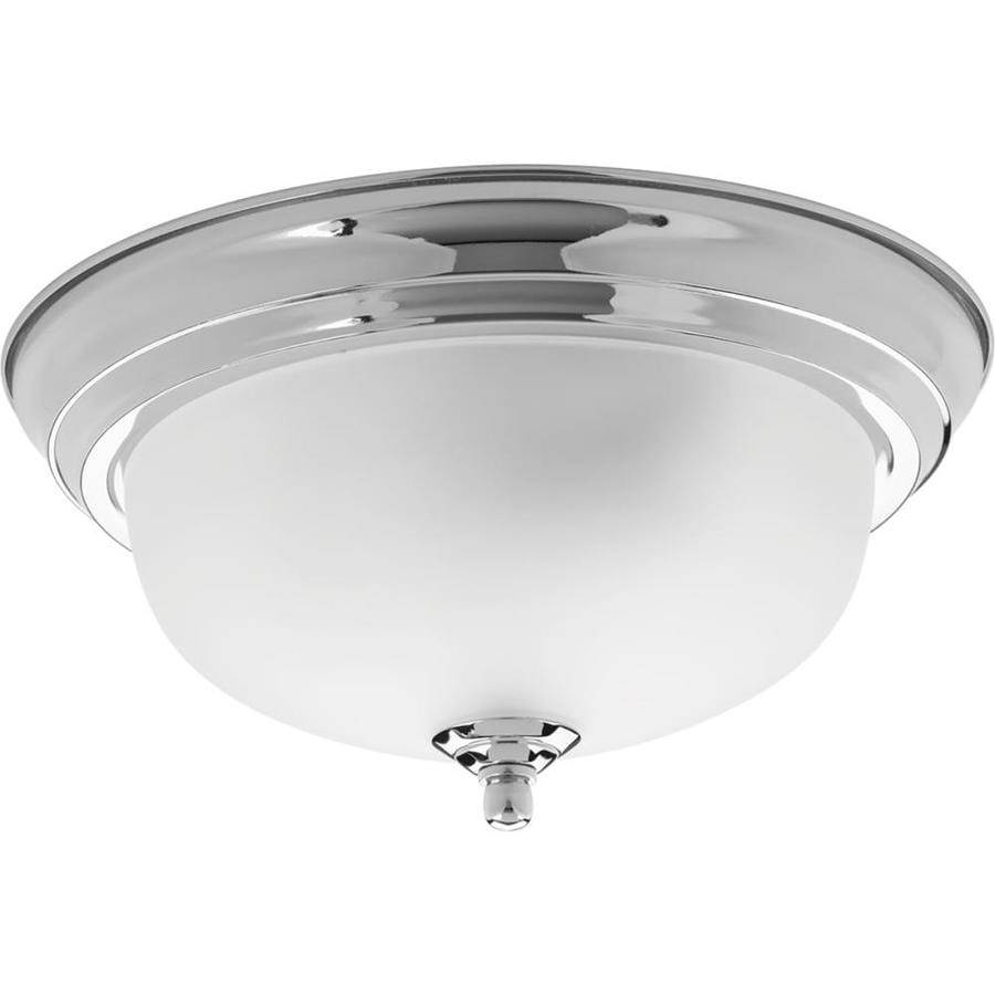 Progress Lighting Dome Glass 11.375-in W Polished Chrome Ceiling Flush Mount Light