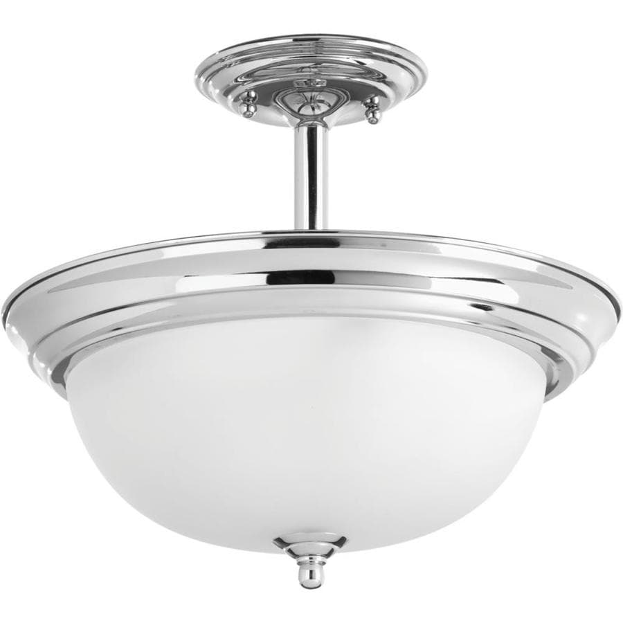Progress Lighting Dome Glass 13.25-in W Polished Chrome Etched Glass Semi-Flush Mount Light