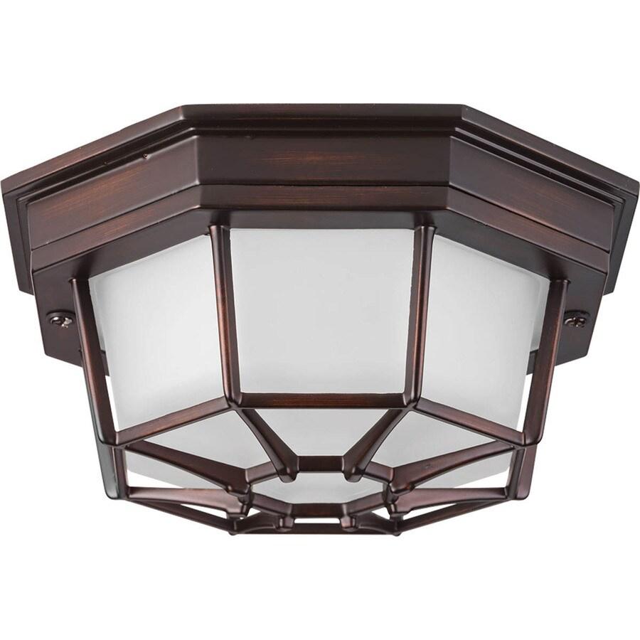 Progress Lighting Milford LED 8.625-in W Antique Bronze Outdoor Flush-Mount Light ENERGY STAR