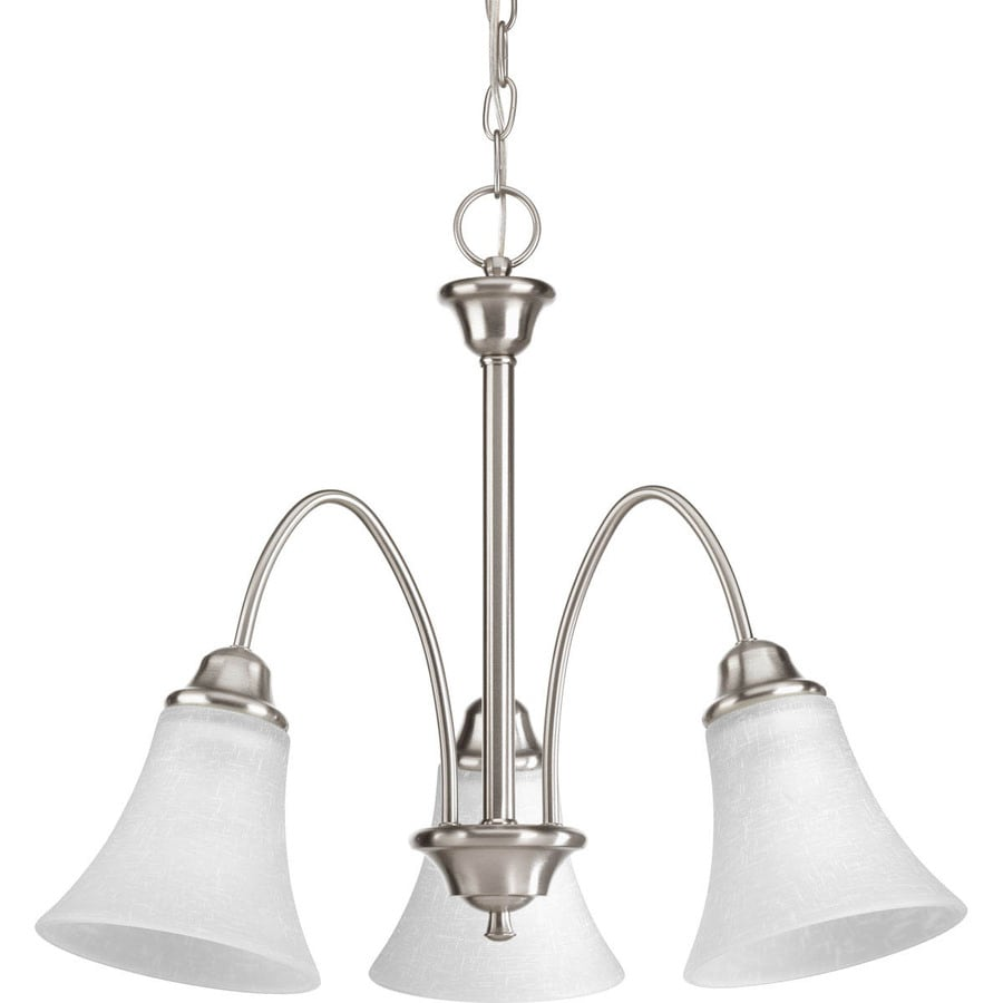 Progress Lighting Tally 22-in 3-Light Brushed Nickel Etched Glass Shaded Chandelier