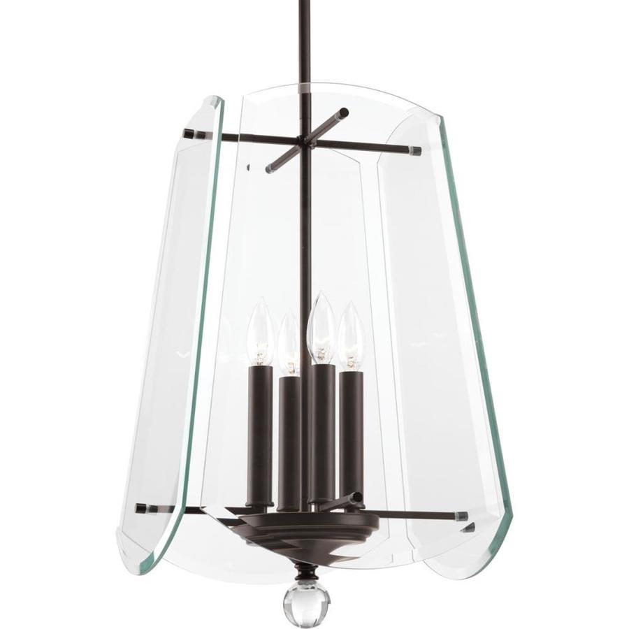 Progress Lighting Esteem 14-in 4-Light Antique Bronze Clear Glass Shaded Chandelier