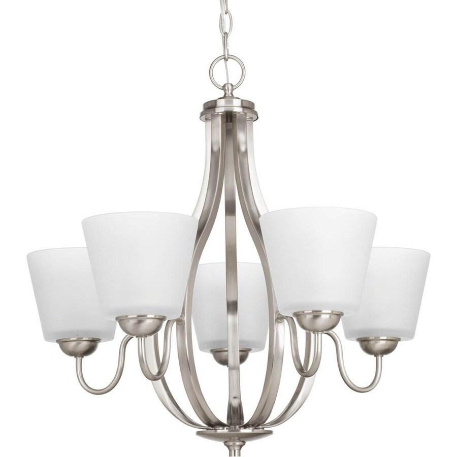 Progress Lighting Arden 24.625-in 5-Light Brushed Nickel Etched Glass Shaded Chandelier