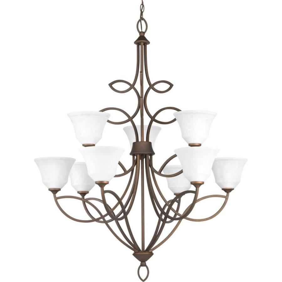 Progress Lighting Monogram 36-in 9-Light Roasted Java Mediterranean Etched Glass Shaded Chandelier