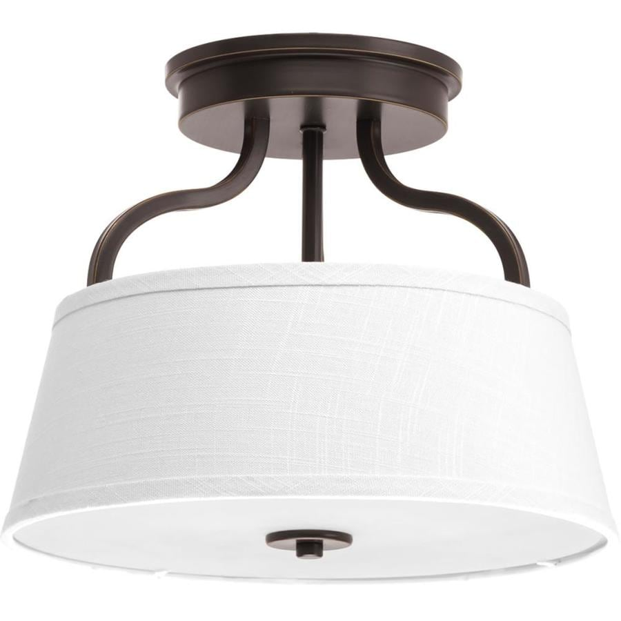 Progress Lighting Arden 14-in W Antique Bronze Fabric Semi-Flush Mount Light