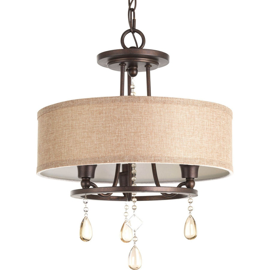 Progress Lighting Flourish 15.125-in W Cognac Fabric Semi-Flush Mount Light