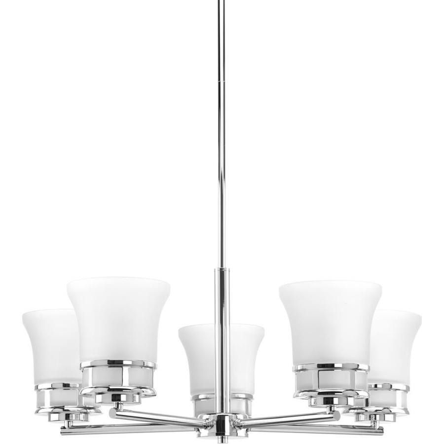Progress Lighting Cascadia 26-in 5-Light Polished Chrome Etched Glass Shaded Chandelier