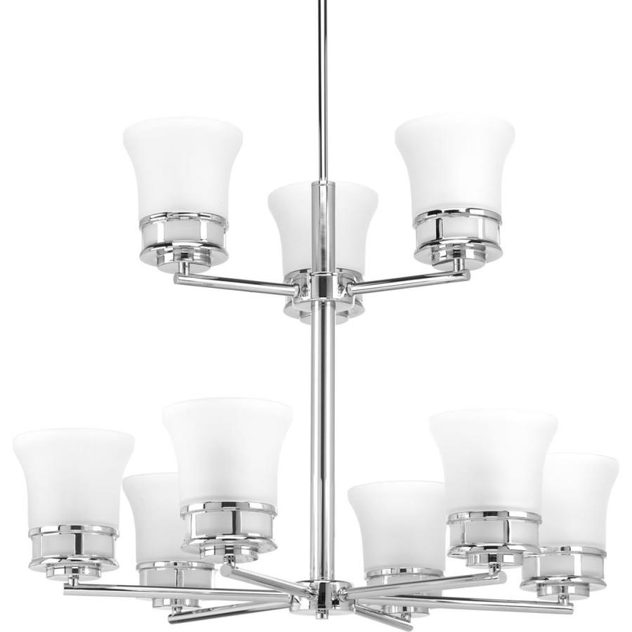 Progress Lighting Cascadia 30-in 9-Light Polished Chrome Etched Glass Shaded Chandelier