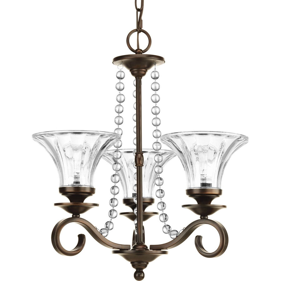 Progress Lighting Bliss 18-in 3-Light Antique Bronze Crystal Clear Glass Shaded Chandelier