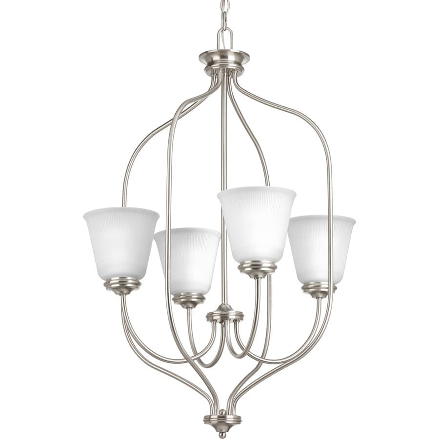 Progress Lighting Keats 21-in 4-Light Brushed Nickel Ribbed Glass Shaded Chandelier