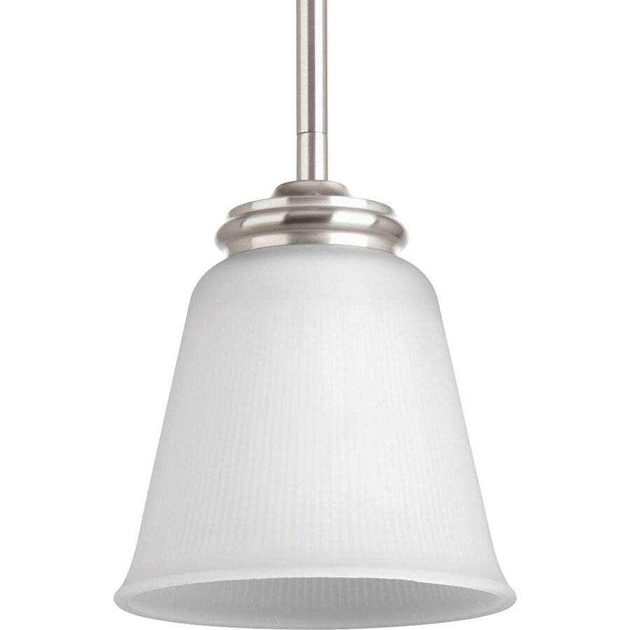 Progress Lighting Keats 5.75-in Brushed Nickel Mini Ribbed Glass Bell Pendant