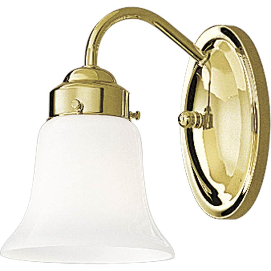 Progress Lighting Opal Glass 1-Light Polished Brass Bell Vanity Light