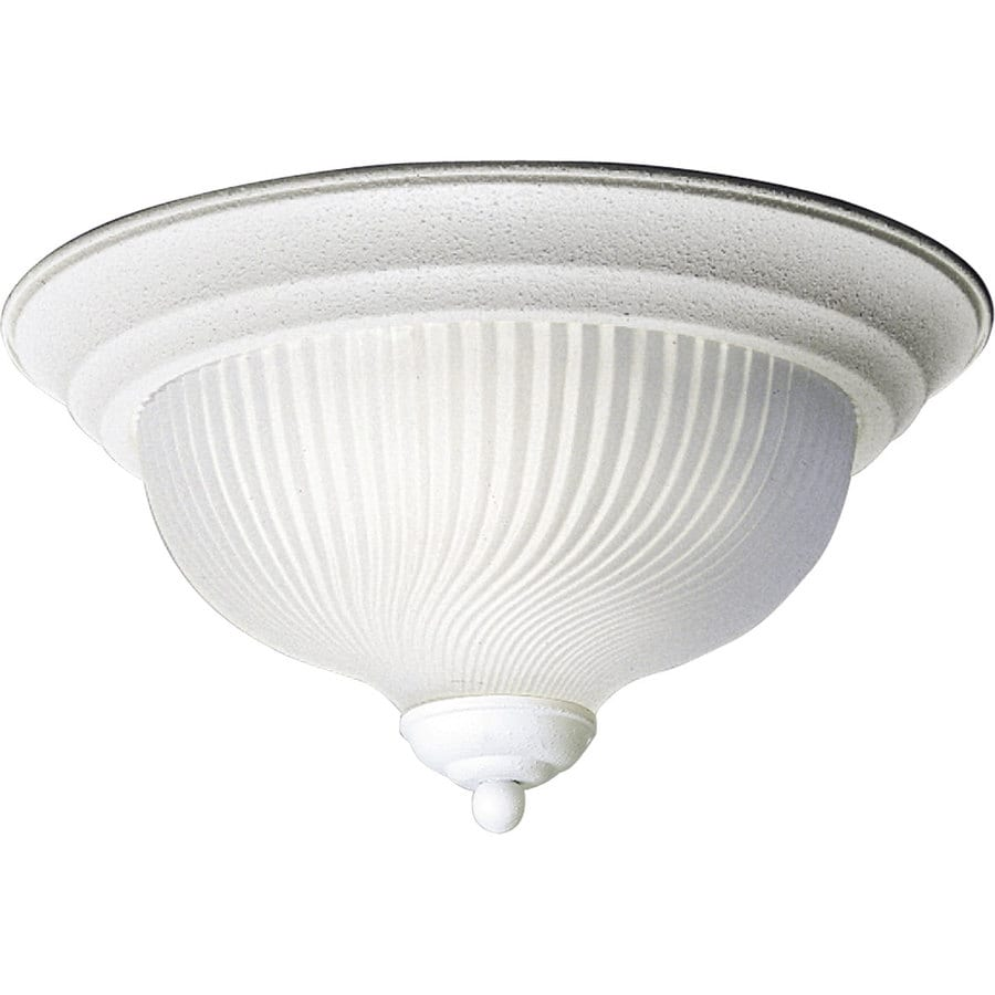 Progress Lighting Swirled Glass 11.75-in W Textured White Ceiling Flush Mount Light