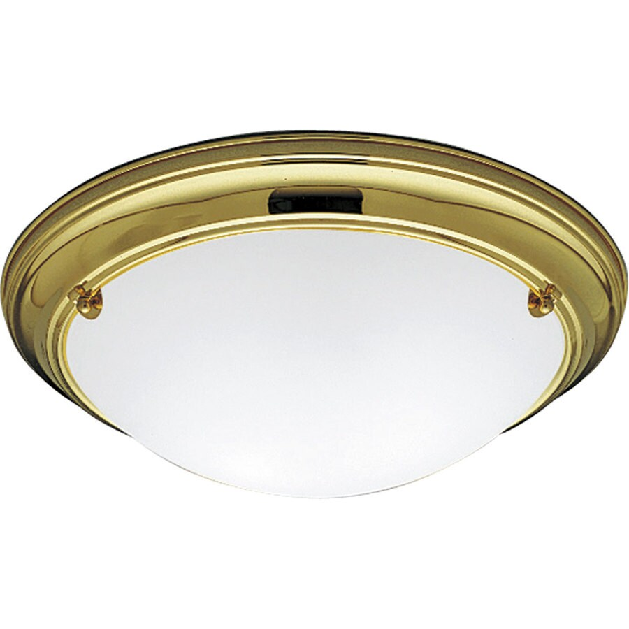 Progress Lighting Eclipse 15.25-in W Polished Brass Ceiling Flush Mount Light