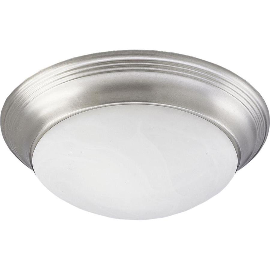 Progress Lighting Alabaster Glass 11.5-in W Brushed Nickel Ceiling Flush Mount Light