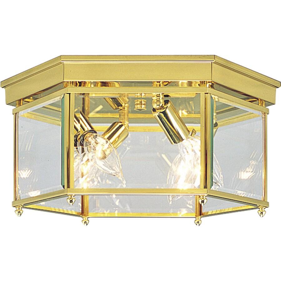 Progress Lighting Beveled Glass 13-in W Polished Brass Ceiling Flush Mount Light