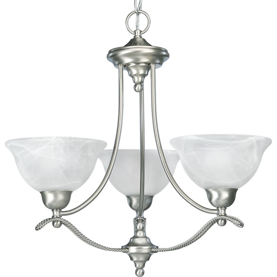 Progress Lighting Avalon 21.875-in 3-Light Brushed Nickel Alabaster Glass Shaded Chandelier