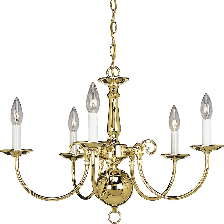 Progress Lighting Americana 23.5-in 5-Light Polished Brass Tinted Glass Shaded Chandelier