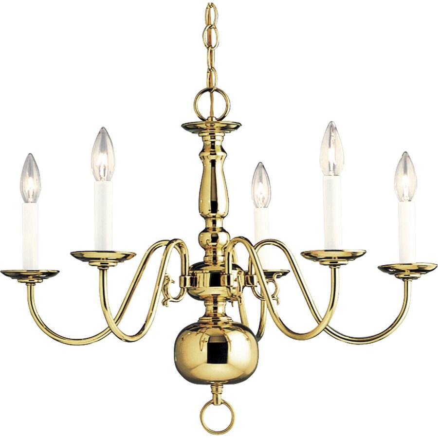 Progress Lighting Americana 24-in 5-Light Polished Brass Tinted Glass Shaded Chandelier