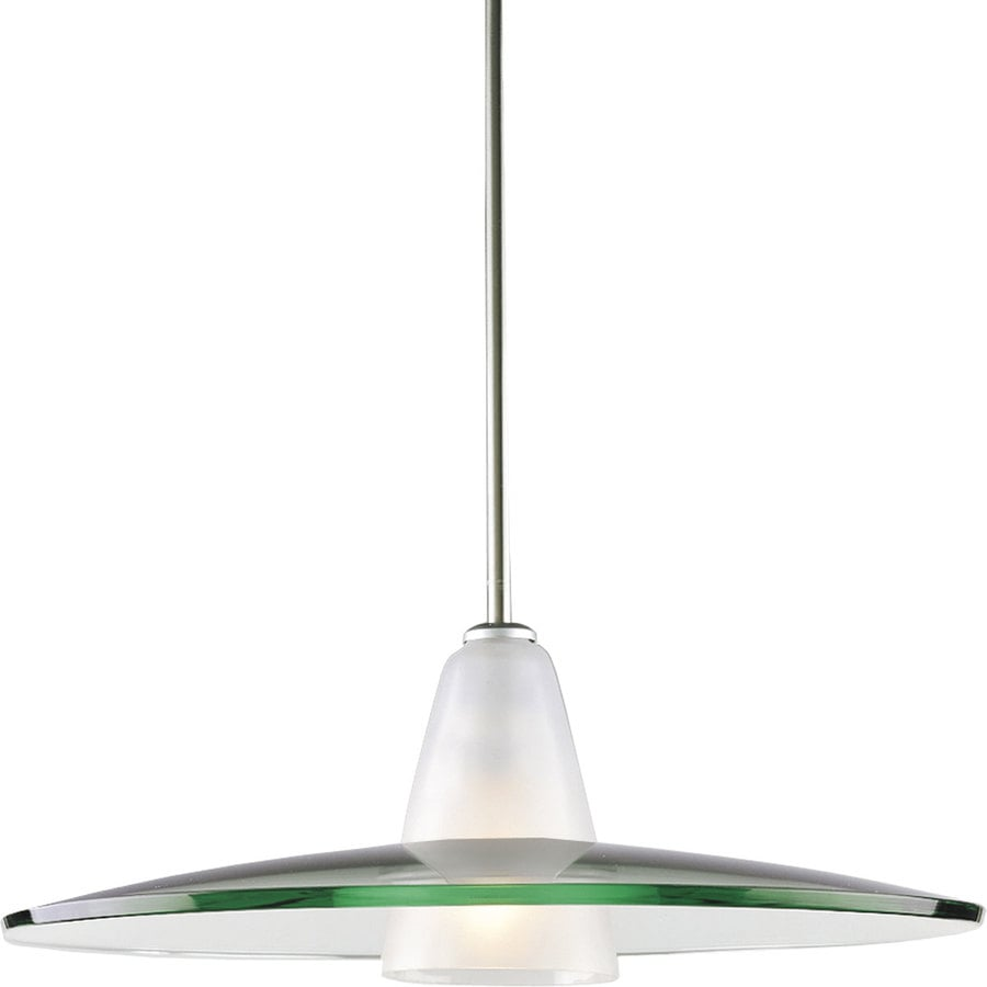 Progress Lighting 20-in Brushed Nickel Mini Clear Glass Bell Pendant