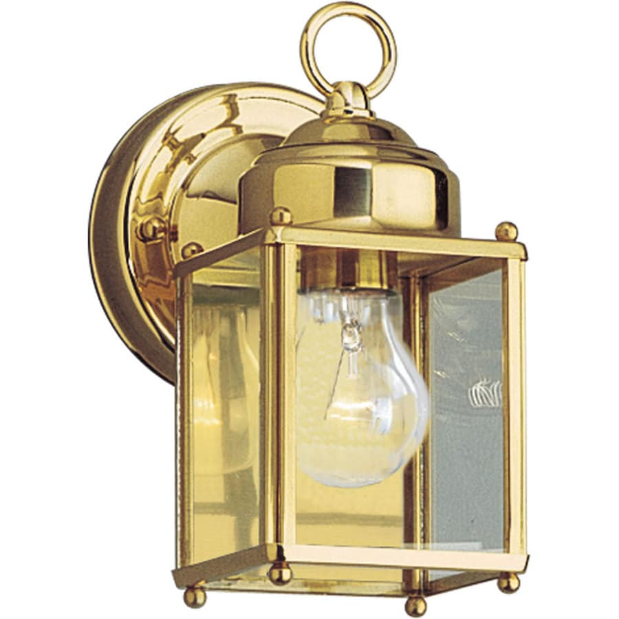 Outdoor Wall Light Polished Brass : Shop Progress Lighting 8-in H Polished Brass Outdoor Wall Light at Lowes.com