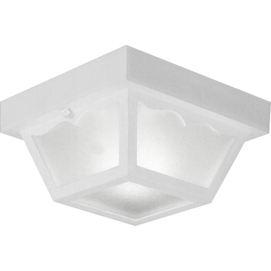 Progress Lighting 8.25-in W White Outdoor Flush-Mount Light