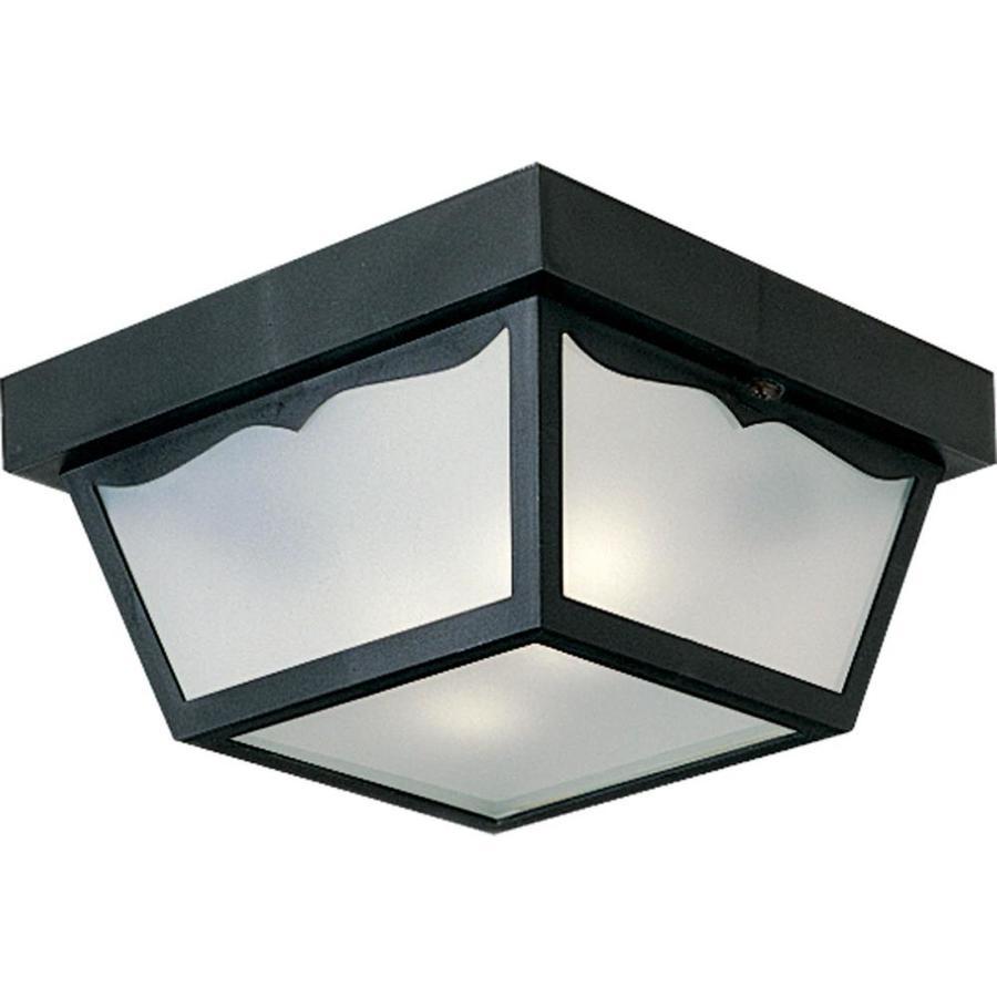 Progress Lighting 10.25-in W Black Outdoor Flush-Mount Light