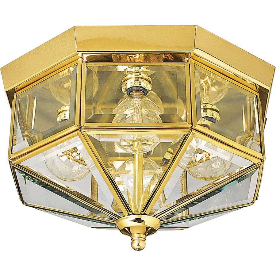 Progress Lighting Beveled Glass 11.125-in W Polished Brass Ceiling Flush Mount Light