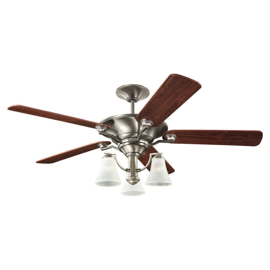 Sea Gull Lighting Somerton 52-in Antique Brushed Nickel Downrod or Flush Mount Ceiling Fan with Light Kit