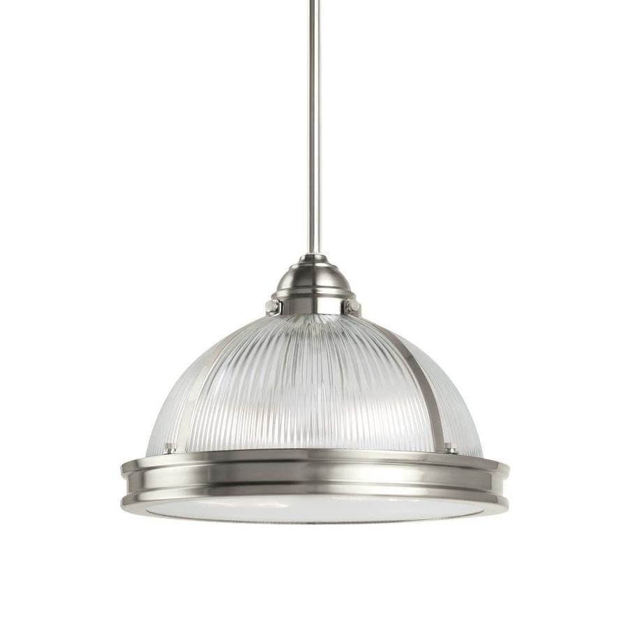 Sea Gull Lighting Pratt Street Prismatic 12.75-in Brushed Nickel Mini Ribbed Glass Pendant
