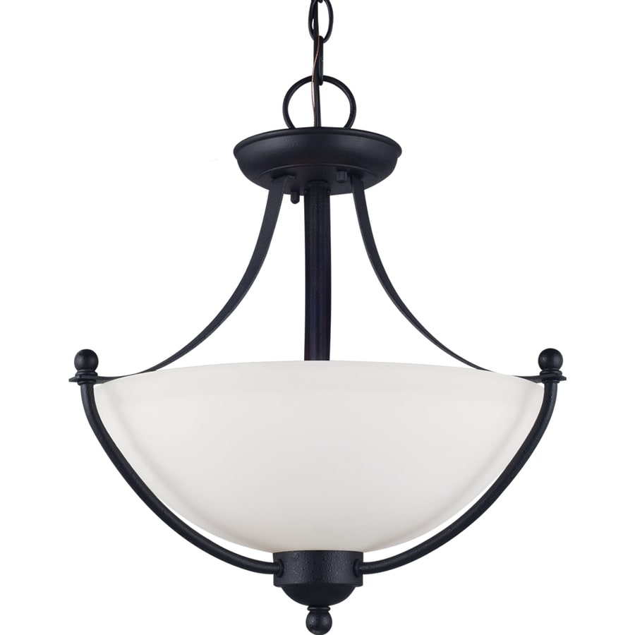 Sea Gull Lighting Uptown 15-in W Blacksmith Opalescent Glass Semi-Flush Mount Light