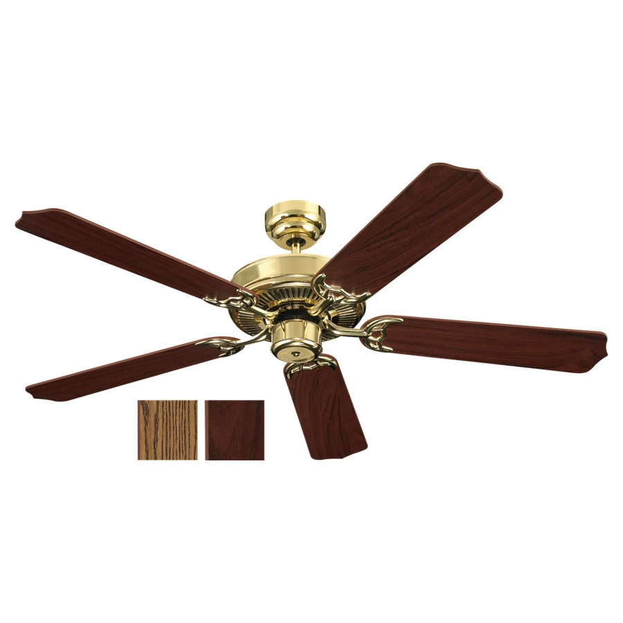 Sea Gull Lighting Quality Max 52-in Polished Brass Downrod or Flush Mount Ceiling Fan ENERGY STAR