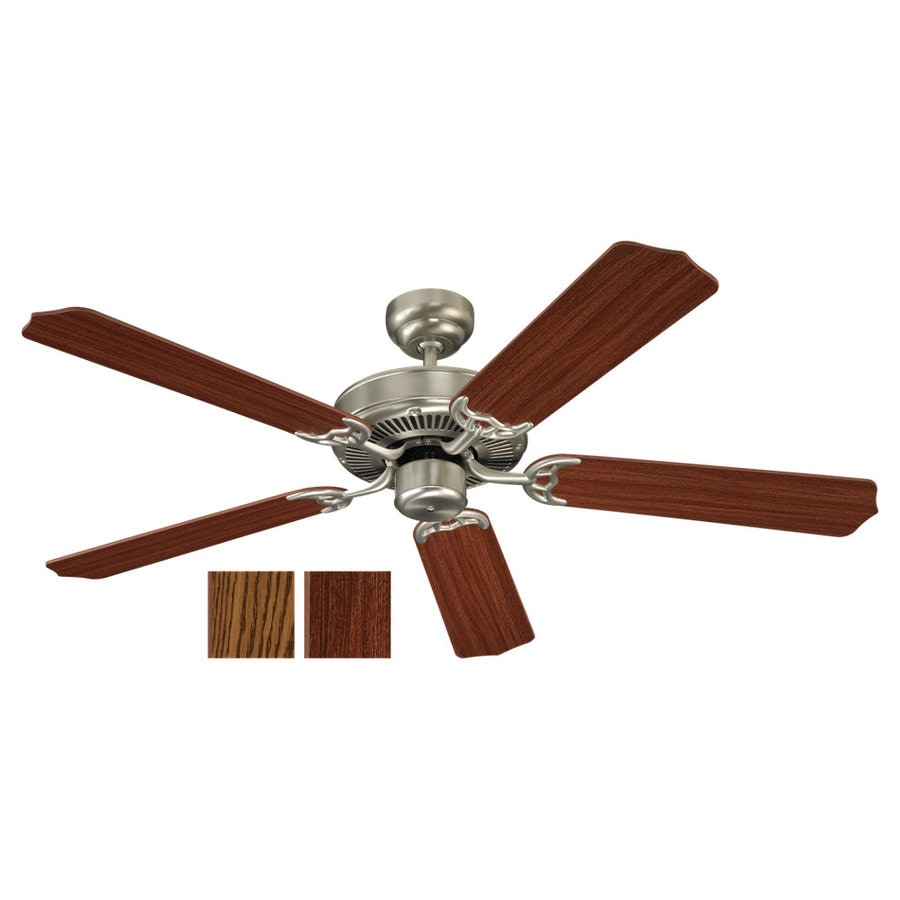 Sea Gull Lighting Quality Max 52-in Brushed Nickel Downrod or Flush Mount Ceiling Fan ENERGY STAR