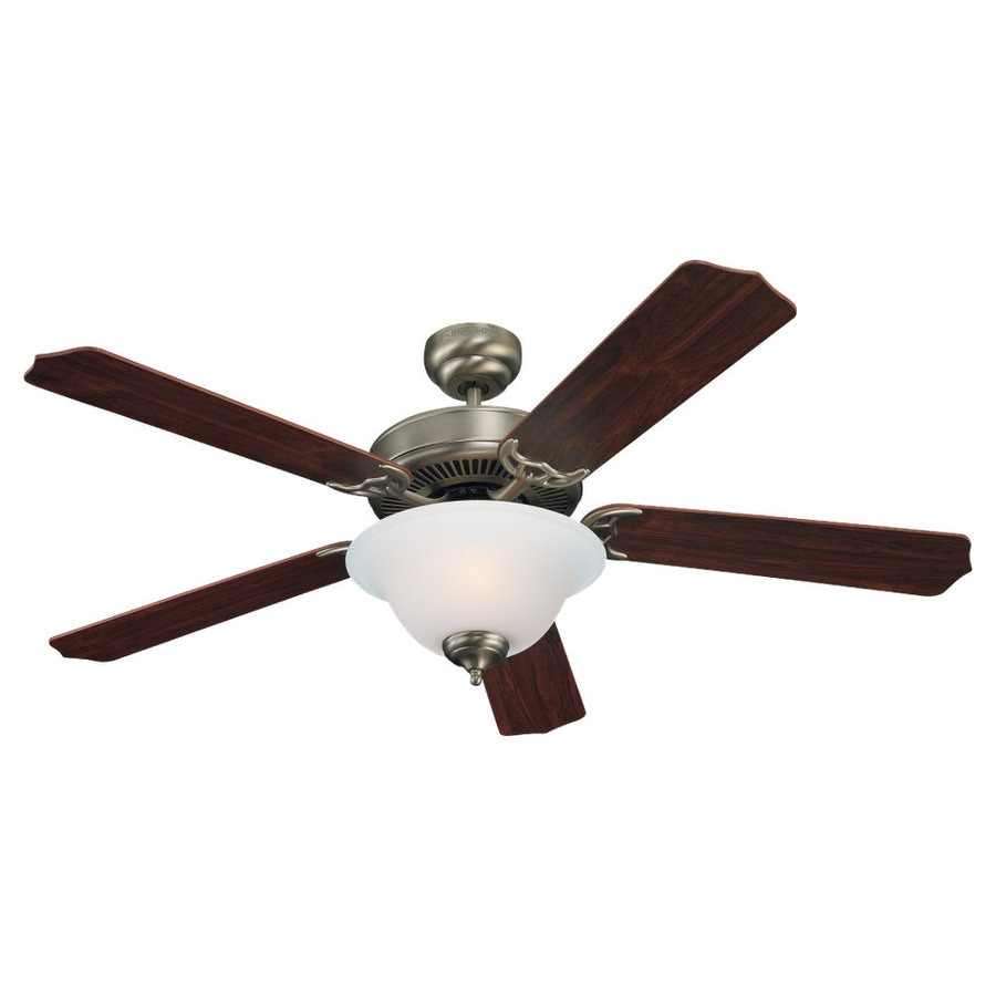 Sea Gull Lighting Quality Max Plus 52-in Antique Brushed Nickel Downrod or Flush Mount Ceiling Fan with Light Kit ENERGY STAR