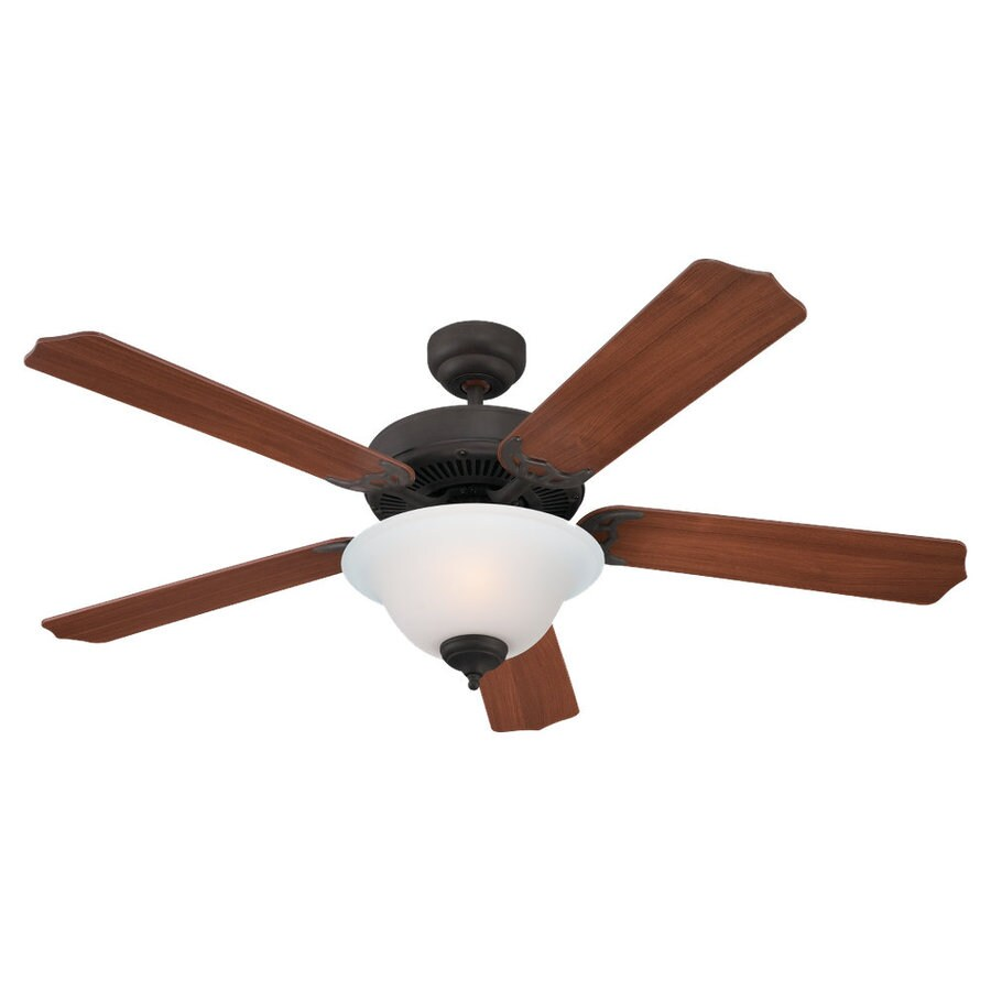 Sea Gull Lighting Quality Max Plus 52-in Misted Bronze Downrod or Flush Mount Ceiling Fan with Light Kit ENERGY STAR