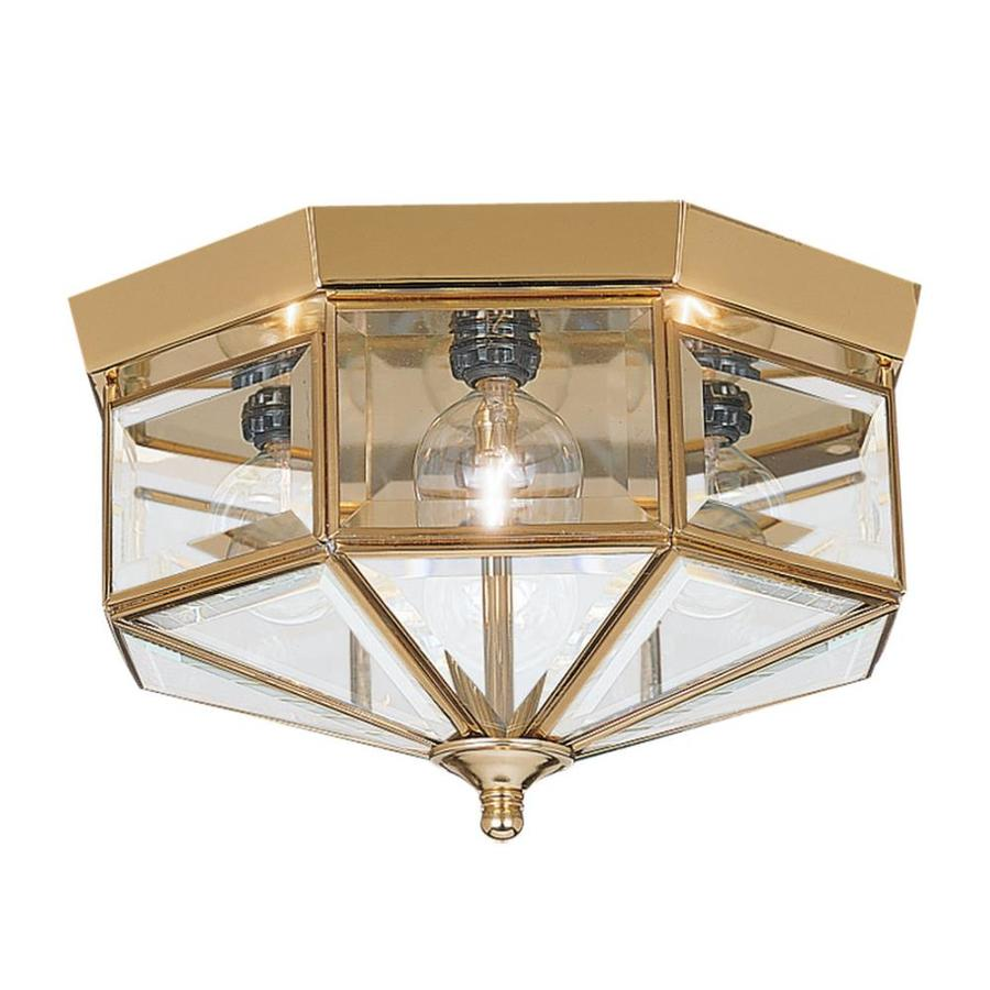 Sea Gull Lighting 11-in W Polished Brass Ceiling Flush Mount Light