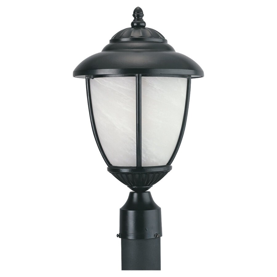 Sea Gull Lighting Yorktowne 17-1/4-in Black Pier-Mounted Light