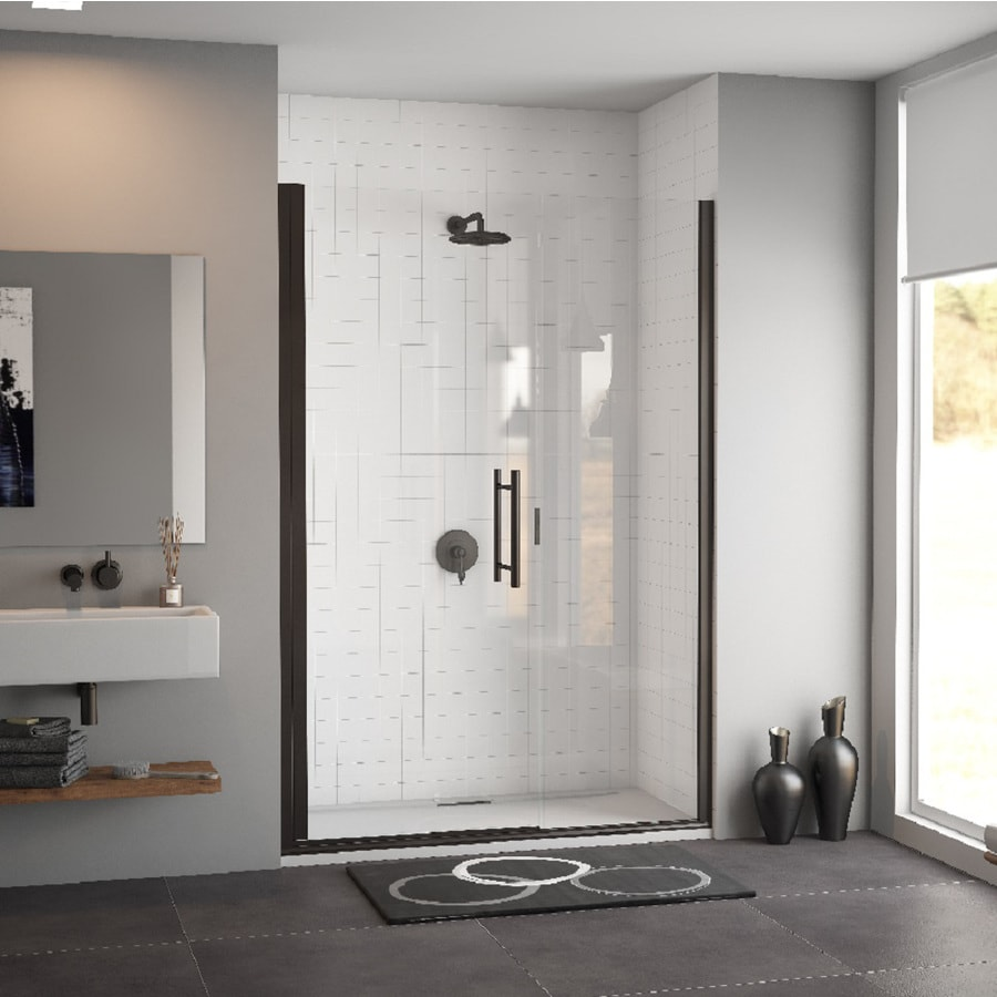 Coastal Shower Doors Illusion Series 56-in to 57.25-in Bronze Frameless Hinged Shower Door