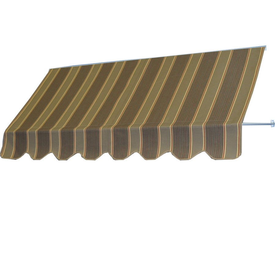 Americana Building Products 42-in Wide x 24-in Projection Eastridge Cocoa Striped Open Slope Low Eave Window Retractable Manual Awning