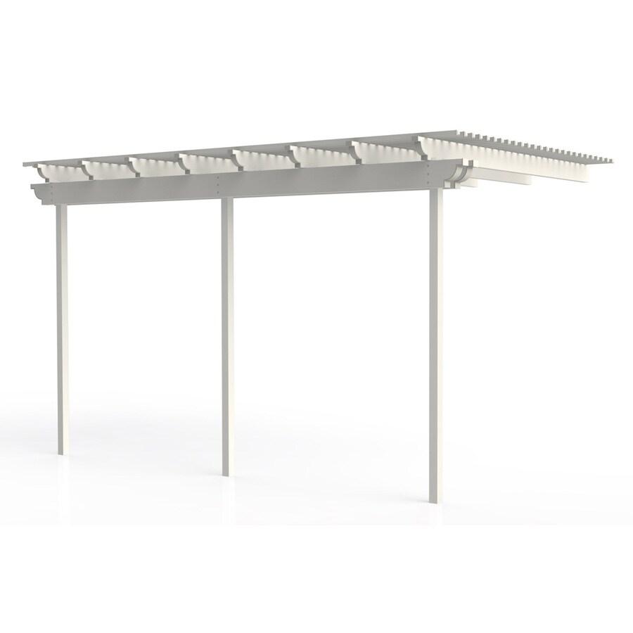 Americana Building Products 120-in W x 192-in L x 112.5-in H White Aluminum Attached Pergola