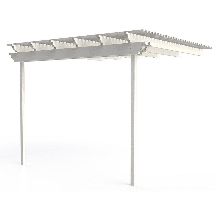 Americana Building Products 144-in W x 144-in L x 112.5-in H White Aluminum Attached Pergola