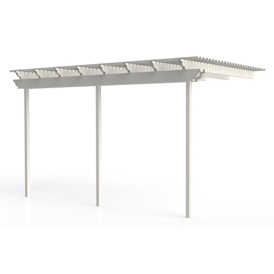 Americana Building Products 96-in W x 192-in L x 112.5-in H White Aluminum Attached Pergola