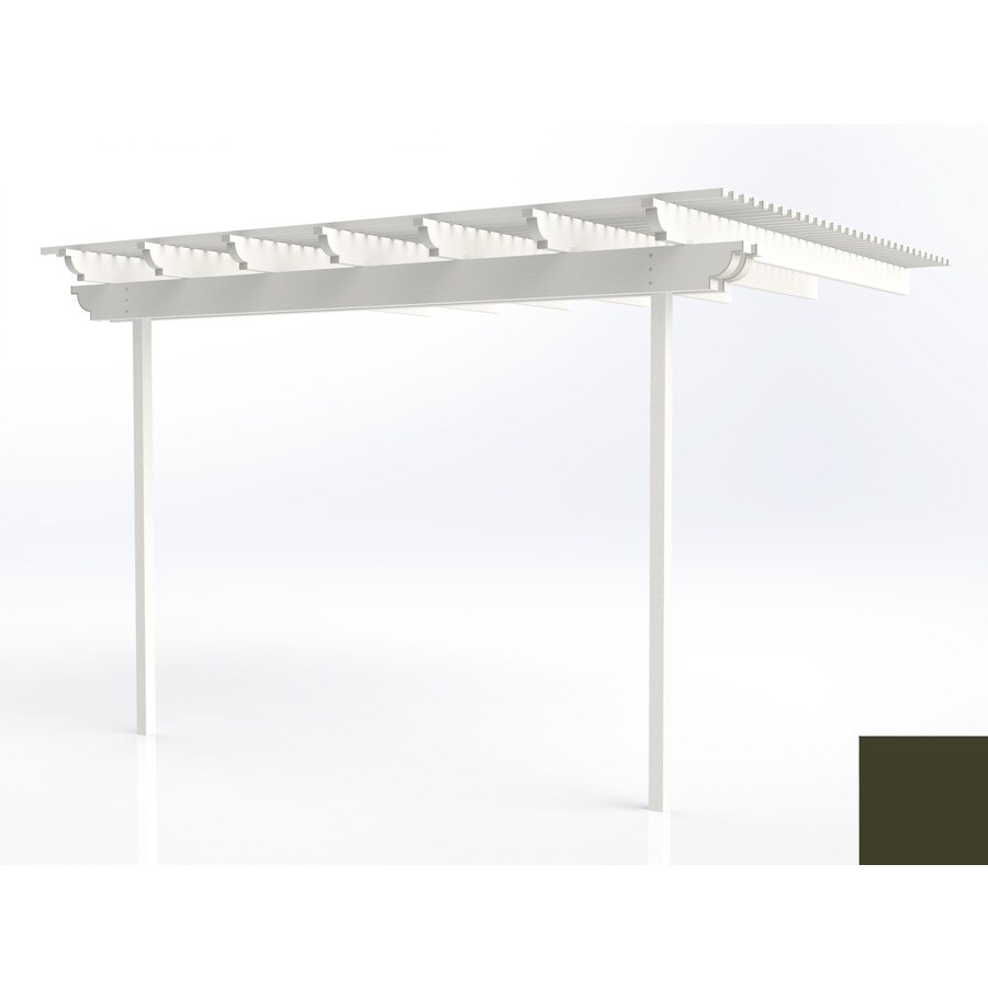 Americana Building Products 120-in W x 144-in L x 112.5-in H Aged Bronze Aluminum Attached Pergola