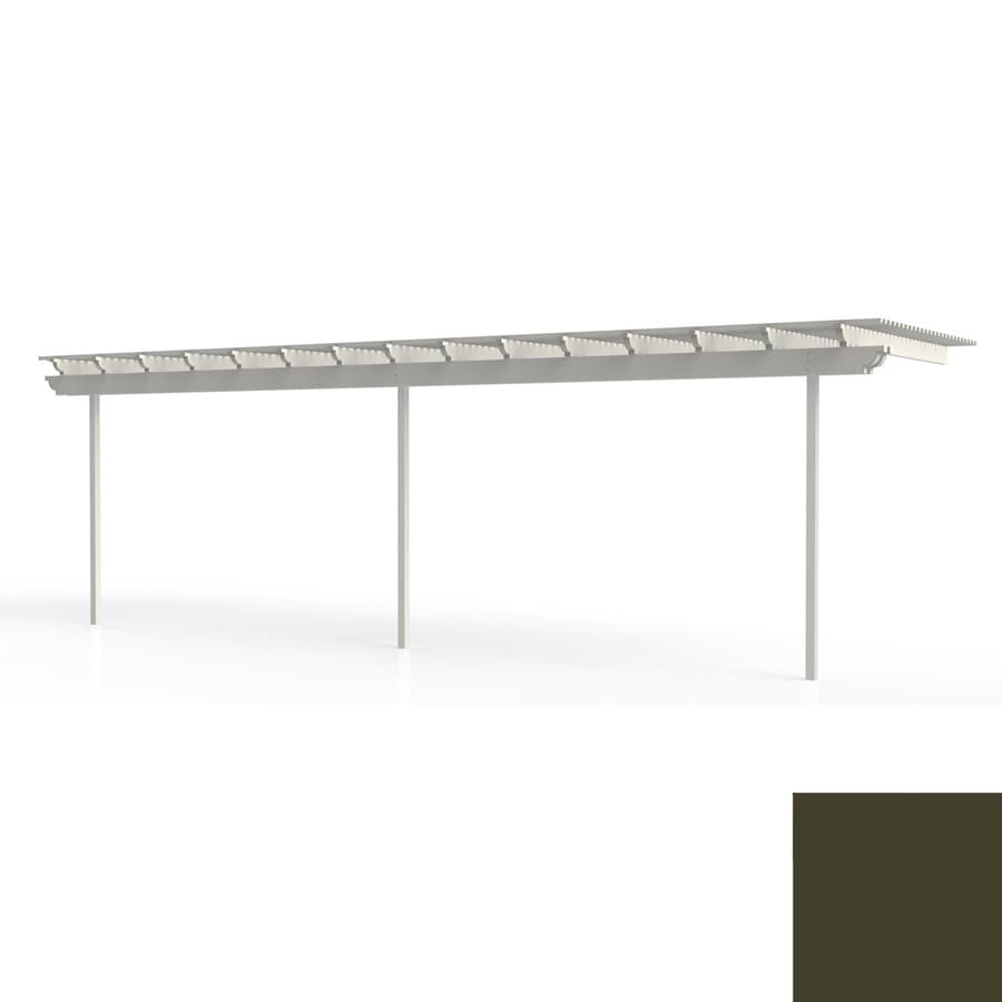Americana Building Products 120-in W x 360-in L x 112.5-in H Aged Bronze Aluminum Attached Pergola