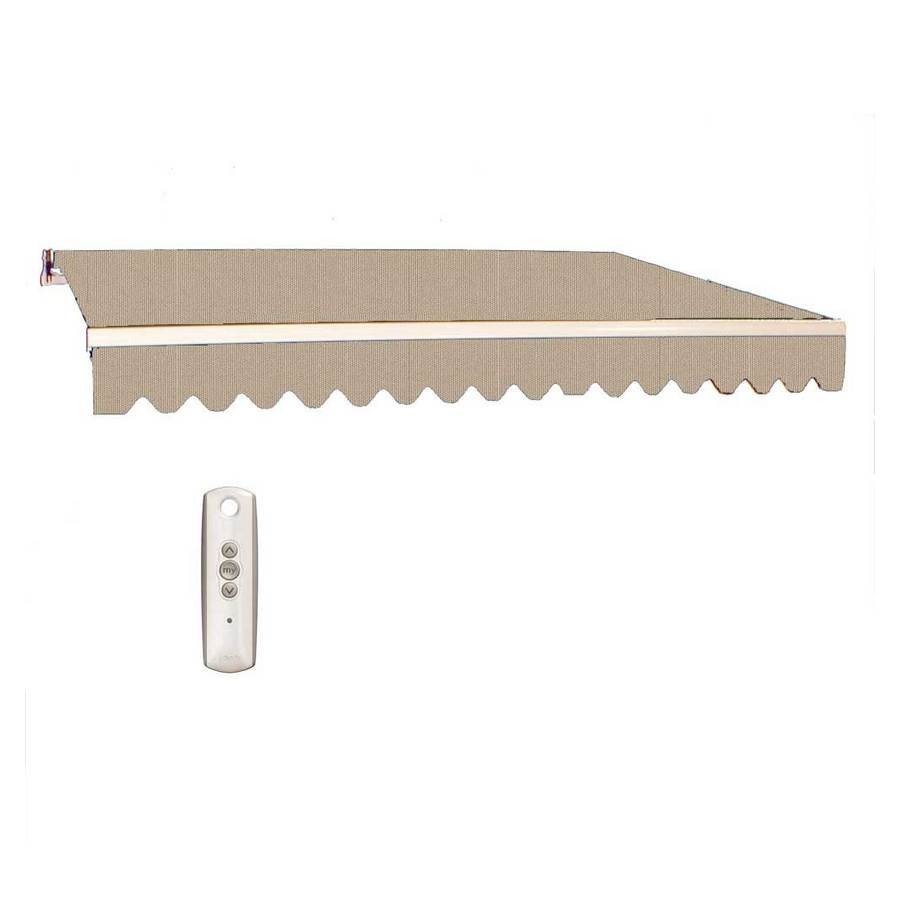 Americana Building Products 238-in Wide x 96-in Projection Linen Solid Slope Patio Retractable Motorized Awning