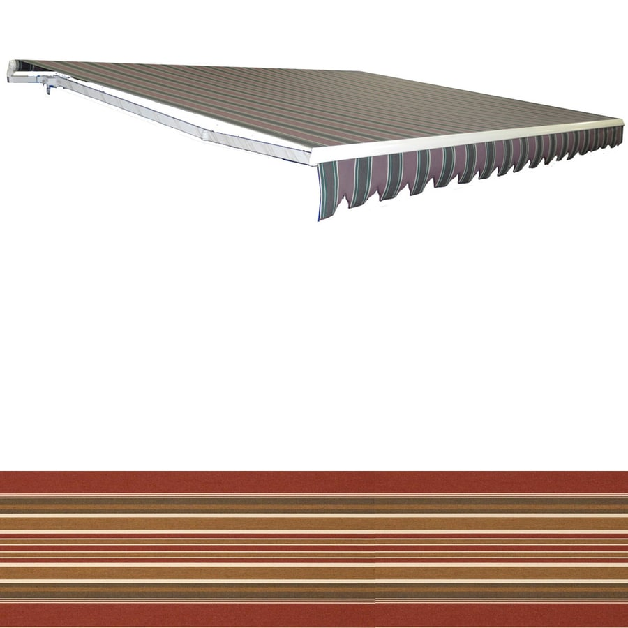 Americana Building Products 120-in Wide x 96-in Projection Sunbrella 4813- Eastland Redwood Stripe Slope Patio Retractable Manual Awning