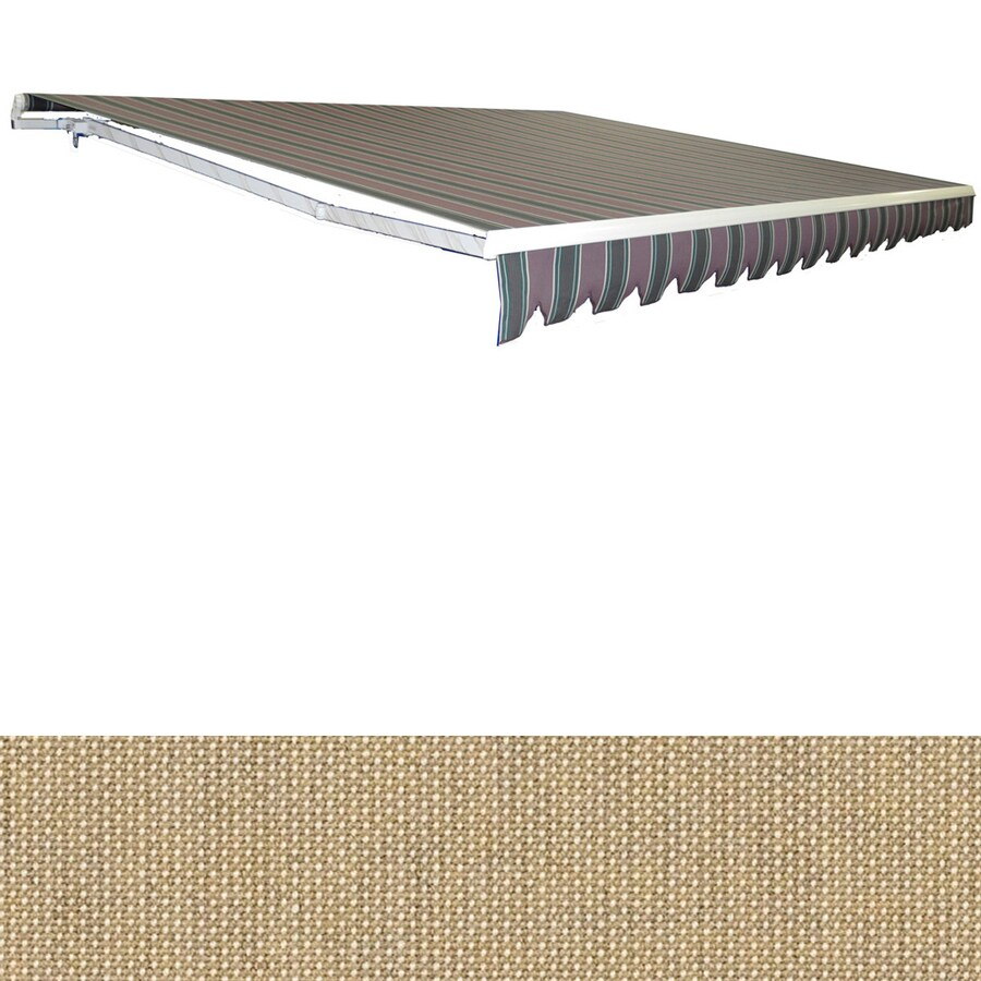 Americana Building Products 180-in Wide x 120-in Projection Sunbrella 4695- Tresco Linen Solid Slope Patio Retractable Manual Awning